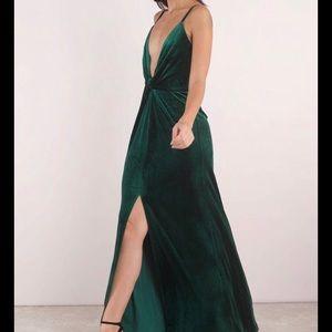 green velvet formal dress with slit